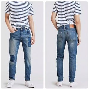 Details about  /NWT Men/'s Levi/'s 512 Slim Taper Leg Girling Blue Distressed Patch Jeans ALL SIZE